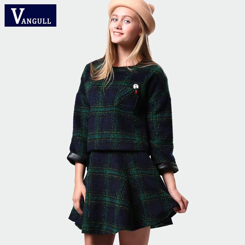 2016 Nova Moda Casual Mulheres Primavera Saia E Set Top 2 Peça Conjunto de Roupas  Mulher Roupas Da Moda Outerwear Casaco de Lã terno 68d760a52c199