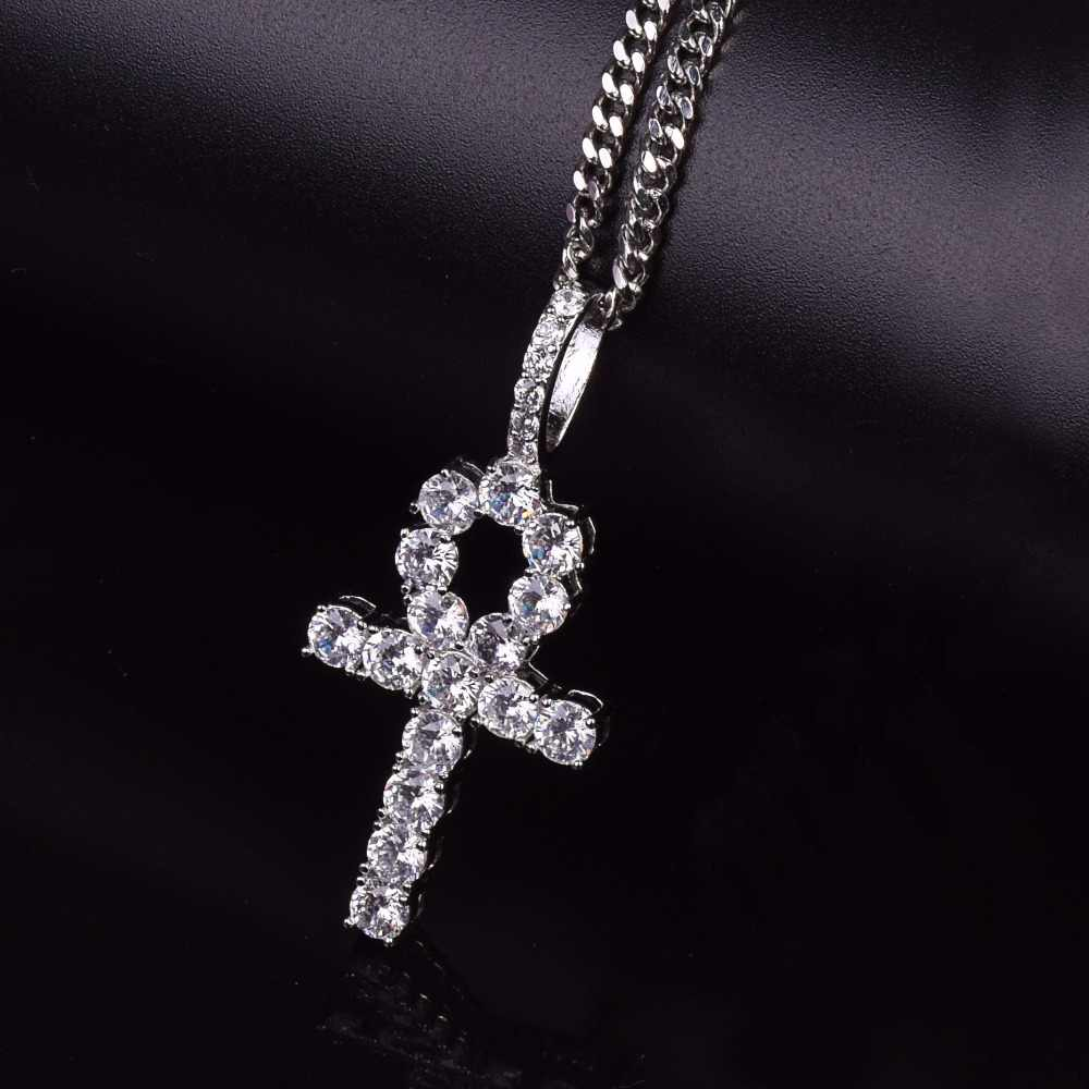 Iced Zircon Ankh Cross Pendant Gold Silver Copper Material CZ Egyptian Key of Life Pendant Necklace Men Women Hip Hop Jewelry