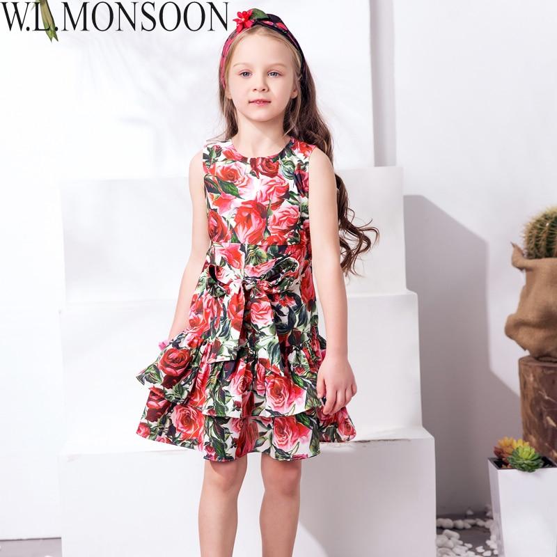 W L MONSOON Kids Dress Girls Clothes 2017 Brand Girls Summer Dresses with Bow Rose Flower