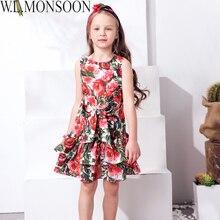 W. l. monsoon enfants robe filles vêtements 2017 marque filles robes d'été avec arc rose fleur layered princesse robe pour enfants