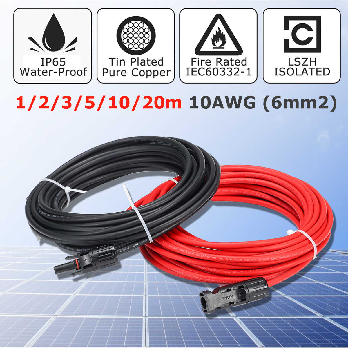 KINCO 1 Pair Solar Panel Extension Cable Copper Wire Black and Red with MC4 Connector Solar PV Cable 6mm 10AWG