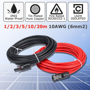 KINCO 1 Pair Solar Panel Extension Cable Copper Wire Black and Red with for Connector Solar PV Cable 6mm 10AWG