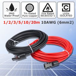 Kinco 1 par cabo de extensão do painel solar fio cobre preto e vermelho com conector mc4 solar pv cabo 6mm 10awg