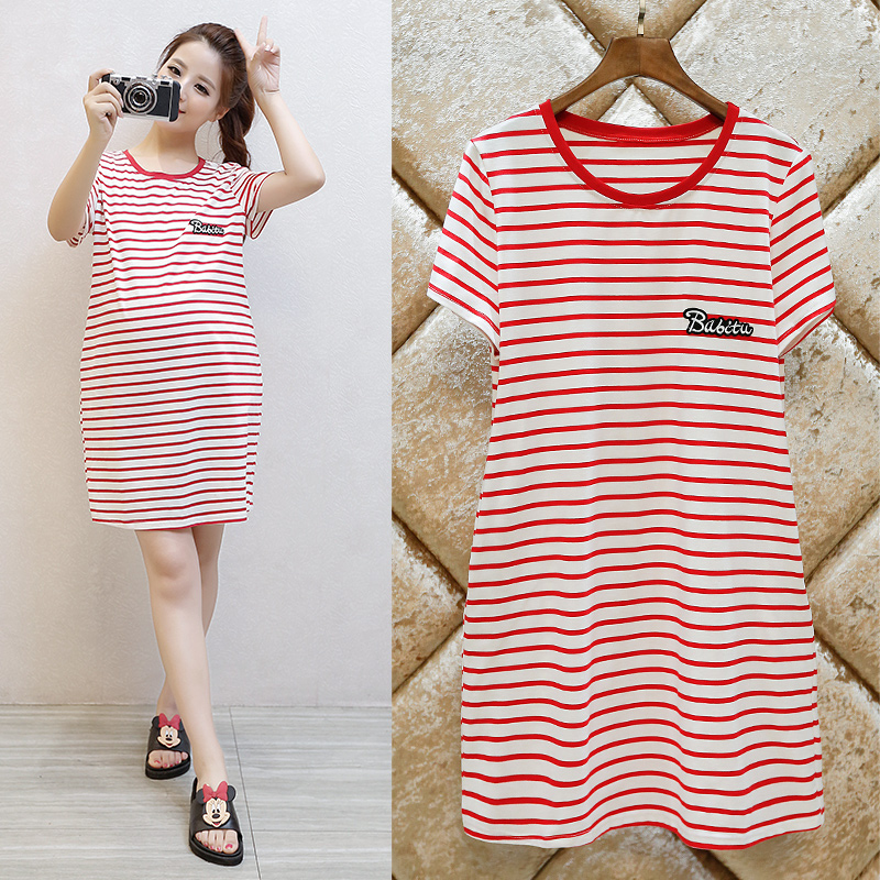 ФОТО New Fashion striped Nursing Clothes Pregnant Women Summer Dress Maternity Breastfeeding Loose Cotton Nursing Dress