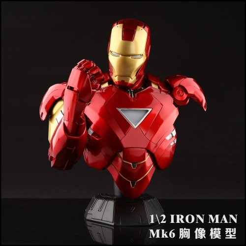 40cm 8kg Resin Iron Man Model MK43 Bust with heart and palm LED luminescence for Action Toy Figures birthday gift wwii hms surprise captain jack resin soldier bust model resin bust master and commander