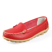 Single Shoes Women Flats Women's Handmade Casual Shoes Genuine Leather Flat Mother Shoes