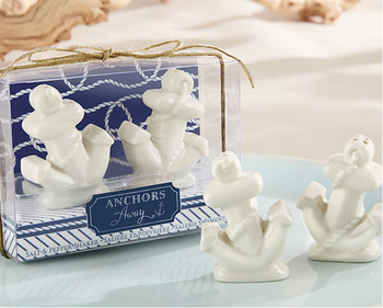 """24pcs=12sets/Lot """"ANCHORS AWAY"""" CERAMIC SALT AND PEPPER SHAKERS/Wedding Gifts/Party Favors baby shower Free shipping"""