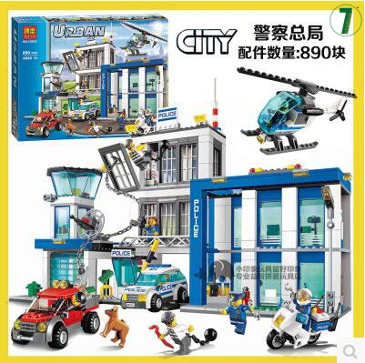 Bela 890pcs 10424 City Police Station building blocks Action Figures set helicopter jail cell Compatible with 60047 For Kid Gift classic toy urban police station building bricks helicopter jail cell add fugitive figures lepincity models blocks toys for kids
