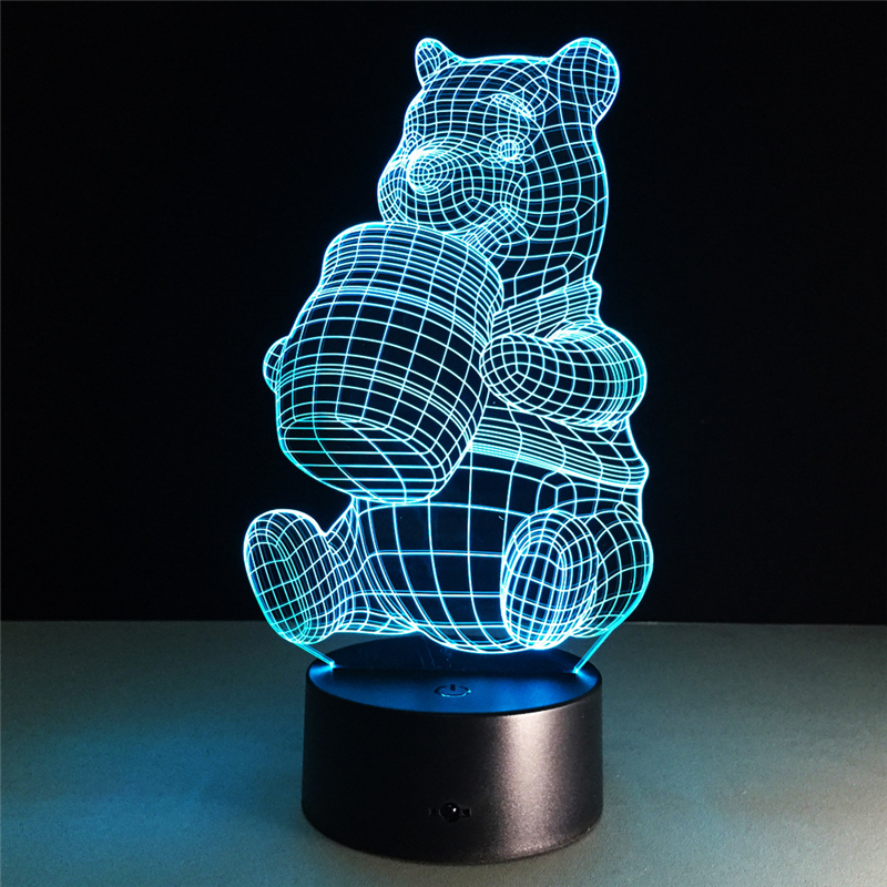 Acrylic 7 Color Honey Bear 3D Flower LED nightlight of bedroom lamp livingroom lights de ...