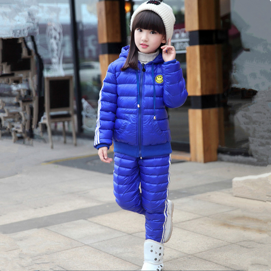 ФОТО 2016 New Children Girls Snowsuit Winter Clothing Down Jackets Set Fashion Hooded Thick Smile Face Pattern Two Pieces Suits