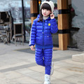 2016 New Children Girls Snowsuit Winter Clothing Down Jackets Set Fashion Hooded Thick Smile Face Pattern Two Pieces Suits