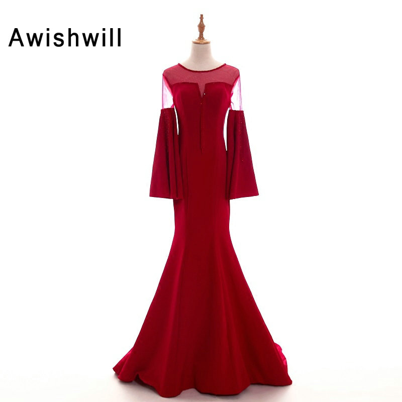 Robe Longue 2019 New Arrival Red Dress Evening Gowns Long Sleeves Crystal Beads Mermaid Formal Party Dresses for Women