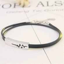 French Amour Heart Charm Bracelet for Men Women Multilayer Leather Red Black Thread Zircon Crystal Bracelet Lover Gift