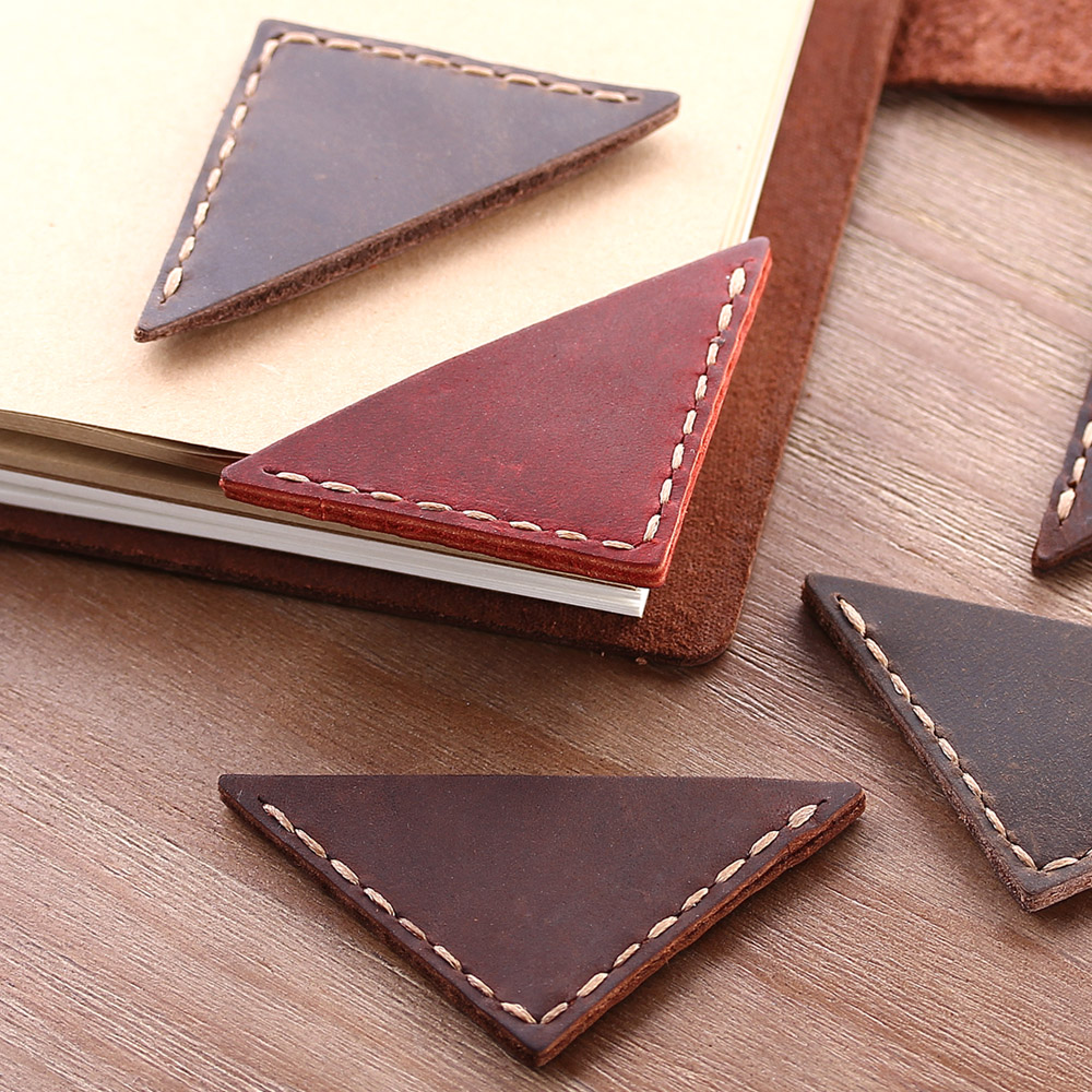 2 Pack Vintage Bookmarks For Books,  Genuine Leather Corner Page Marker, Handmade Memo Stationery Gift School Supplies