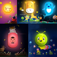 10 Styles Hot Selling 3D Cute Cartoon LED Wall Night Light Wall Sticker Light Control Wall