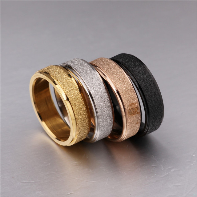 316 Stainless Steel Couple Rings Vintage Titanium Dull Polish Rose Gold Wedding