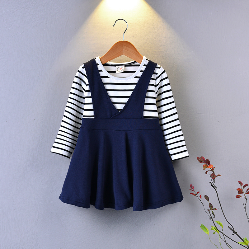 Children Boutique Clothes Long Sleeve Cotton Striped Vest Top T-shirt Cotton Dress Age 1-6y Toddler Girl Dresses Fall 2017 new arrival spring fall girl t shirt cotton long sleeved casual children t shirt girl long sleeve t shirt 6 11y