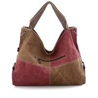 Women's Canvas Patchwork Plaid Tote Handbag 2018 Female Fashion Messenger Bag Ladies Casual Large Capacity Shoulder Shopping Bag