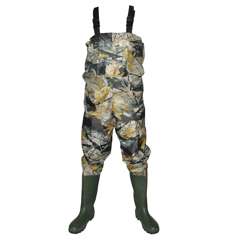 Outdoor Camouflage Waterproof wading overalls with boots Waders wear uniforms Jumpsuits Breathable fly wading rubber pants 03290