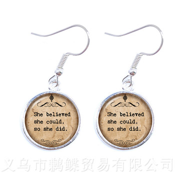 Newest Fashion Jesus Jewelry Christian Earrings Faith With God Nothing is Impossible Quote Jewelry Glass Drop Earrings image