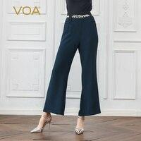 VOA тяжелый шелк расклешенные брюки темно голубой длинные брюки осень микро загрузки женские офисные работы Vogue основные Высокая Талия клеш