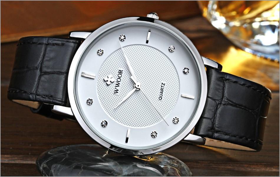 Topdudes.com - Men's Luxury Waterproof Leather Strap Super Slim Sports Quartz Watch