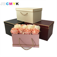 2020 Clearance 3pcs/Set rectangle shape florist packing flowers gift box ,gold line wedding decoration party favors gift boxes
