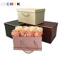3pcs/Set rectangle shape florist packing flowers gift box ,gold line wedding decoration party favors coffret gift boxes