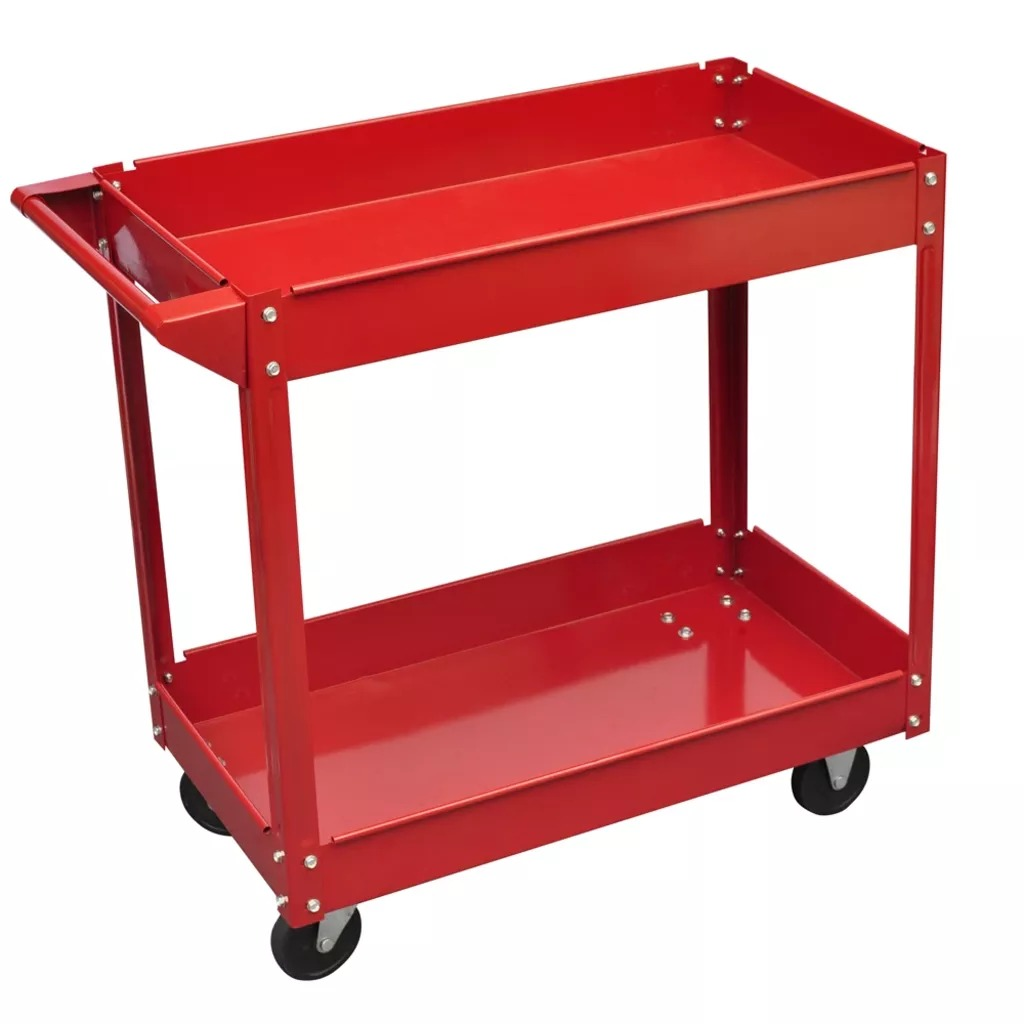 VidaXL 2 Tier Shelf 100 Kg Load Heavy Workshop Garage Tools Storage Trolley Wheel Cart Tray Capacity For Holding Heavy Equipment