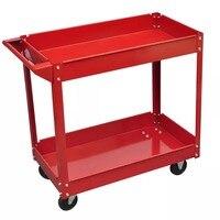 VidaXL 2 Tier Shelf 100 Kg Load Heavy Workshop Garage Tools Storage Trolley Wheel Cart Tray Capacity For Holding Heavy Equipment