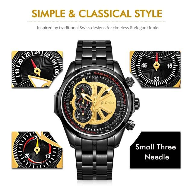 BUREI Men Watches Top Brand Luxury Male Gold Dial Clock Luminous Hands Sapphire Lens Fashion Steel Band Wristwatch calculagraph