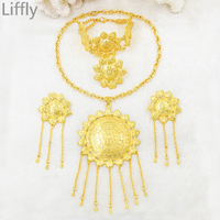 Liffly Hot Classic Creative Design Arab 24 Gold Jewelry Sets Pendant Necklace Bracelet Ring Charm Bride Wedding Jewellery