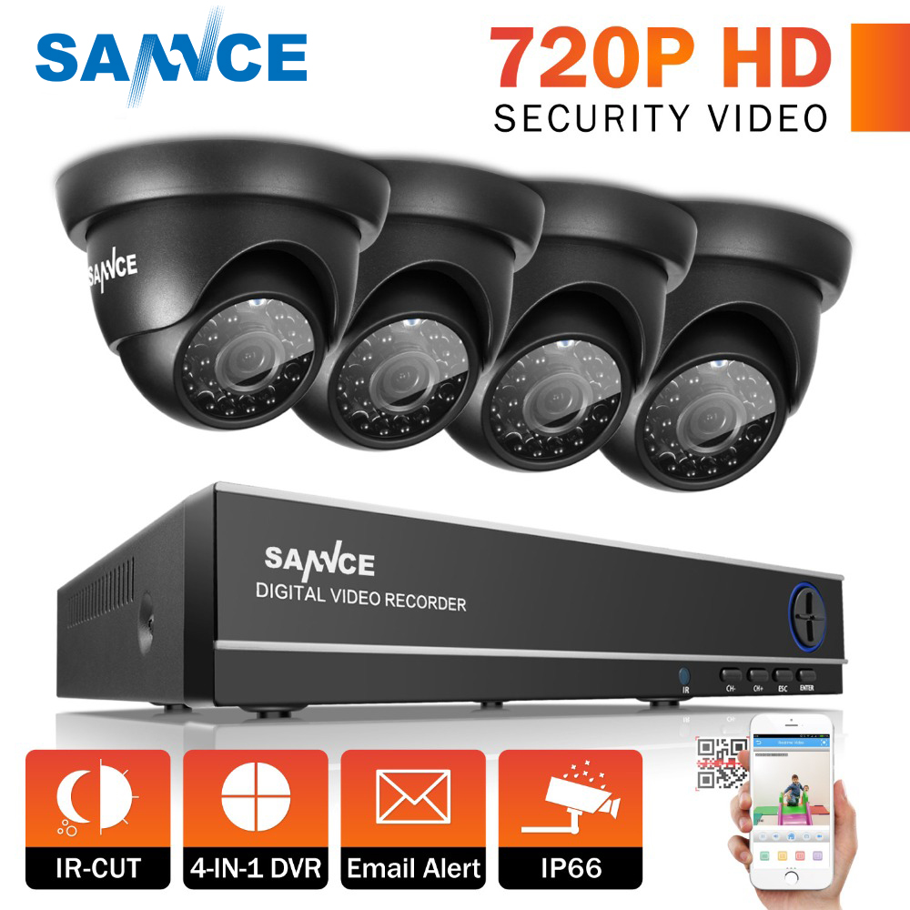 SANNCE 8CH 1080P HDMI DVR CCTV System 4pcs 720P TVI Security Cameras IR Indoor Outdoor 8 Channels video Surveillance diy kit цена