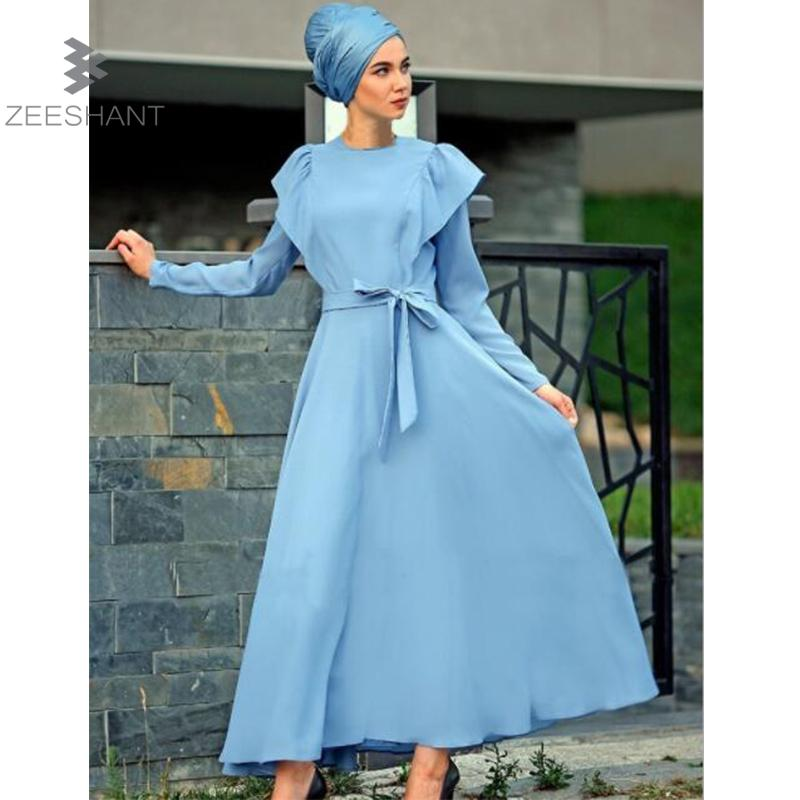 Zeeshant Muslim Kaftan Dubai Long Sleeve Dress for Women Islamic Clothing Gown Abaya For Girls Solid Color Muslim Clothes XL