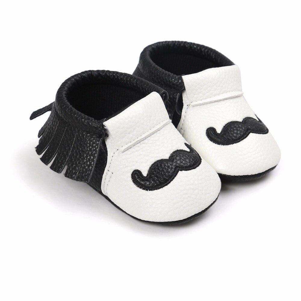 0-18 M Pu-leder Säuglingskleinkindschuhe Neugeborenen Kinder Krippe Weiche Kleinkind Schuhe Mixed Bart Druck