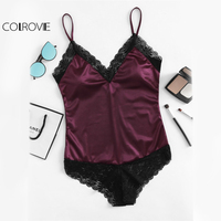 COLROVIE Vintage Lace Trim Satin Bodysuit Sexy Patchwork Women V Neck Cami Bodysuits 2017 Fashion Burgundy