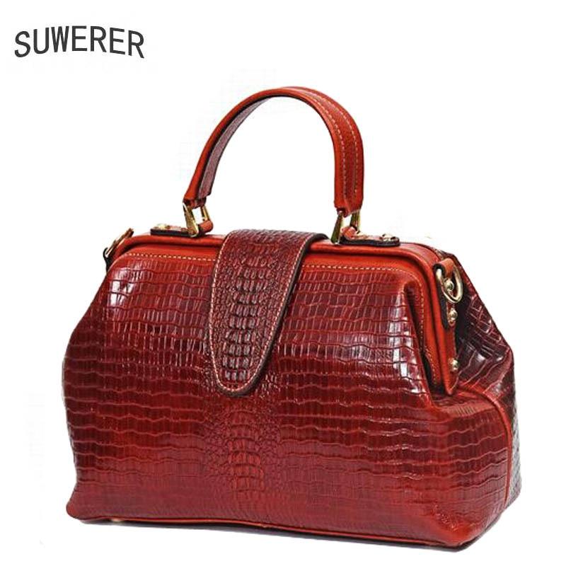 SUWERER New Women Genuine Leather bags women handbags fashion luxury top Cowhide Crocodile pattern women leather handbags