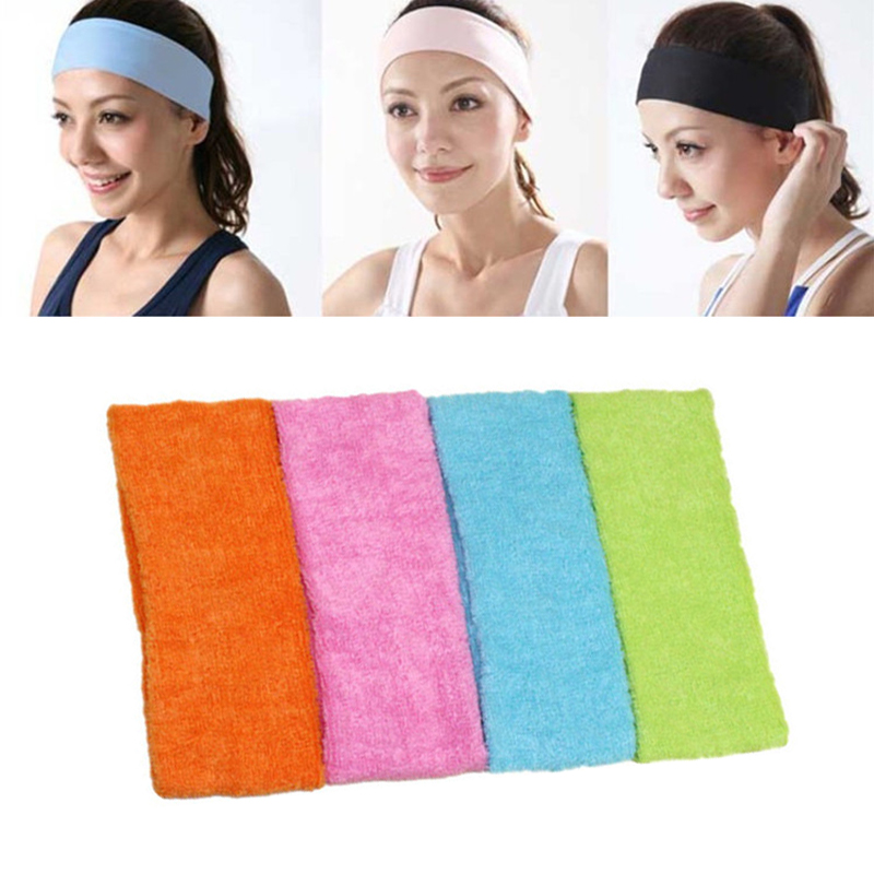 Yoga Hair Bands Sports Towel Cotton Elastic Sweatband Biking Headband Yoga Gym Stretch Head Band Exercise Fitness Headbands