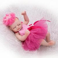 26 cm New Style Full Silicone Reborn Dolls in rose red dress Baby Toys for Girls Children Cosplay Educational Mini Reborn Dolls