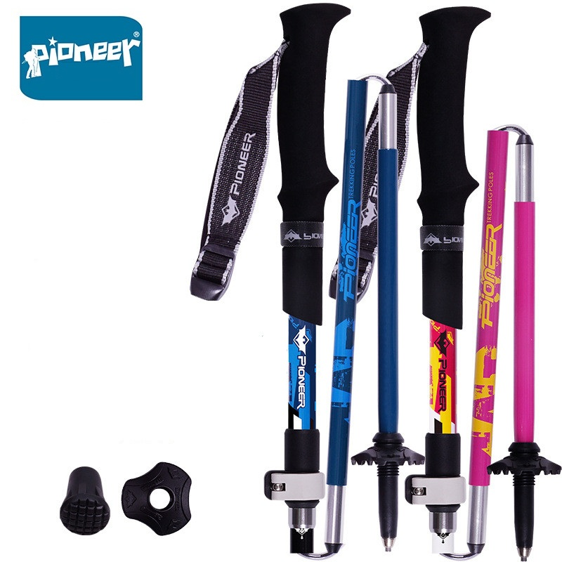 2 Pack PIONEER Carbon Fiber Folding Trekking Poles Ultralight Adjustable Collapsible Travel Hiking Nordic Walking Sticks 1 Pair