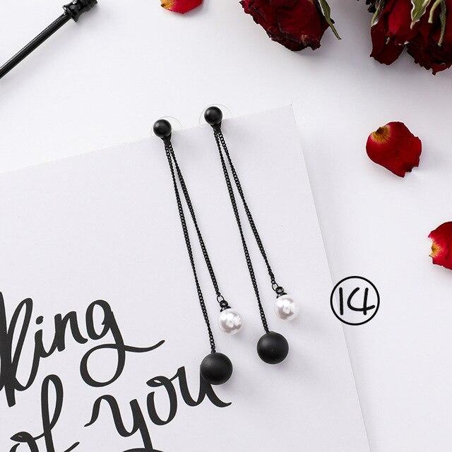 Korean version Fashion black Earrings retro simple female tassel earrings long sweet temperament Women Trendy earrings