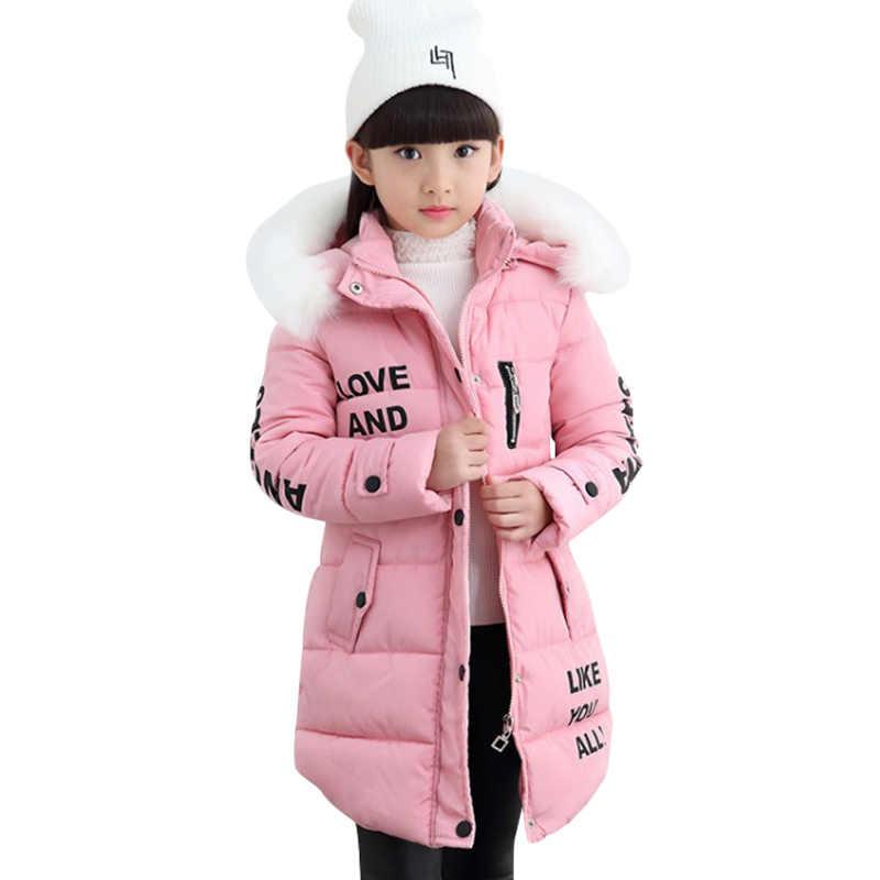 חדש אופנה בגדי ילדים חורף פרווה מעיל עבור בנות 12 שנים חם סלעית עבה כותנה מרופדת ארוך מוצק מעיל
