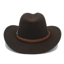 LUCKYLIANJI Wool Felt Western Cowboy Hat For Womem Men Wide Brim Cowgirl Braid Leather Band  (One Size:58cm)
