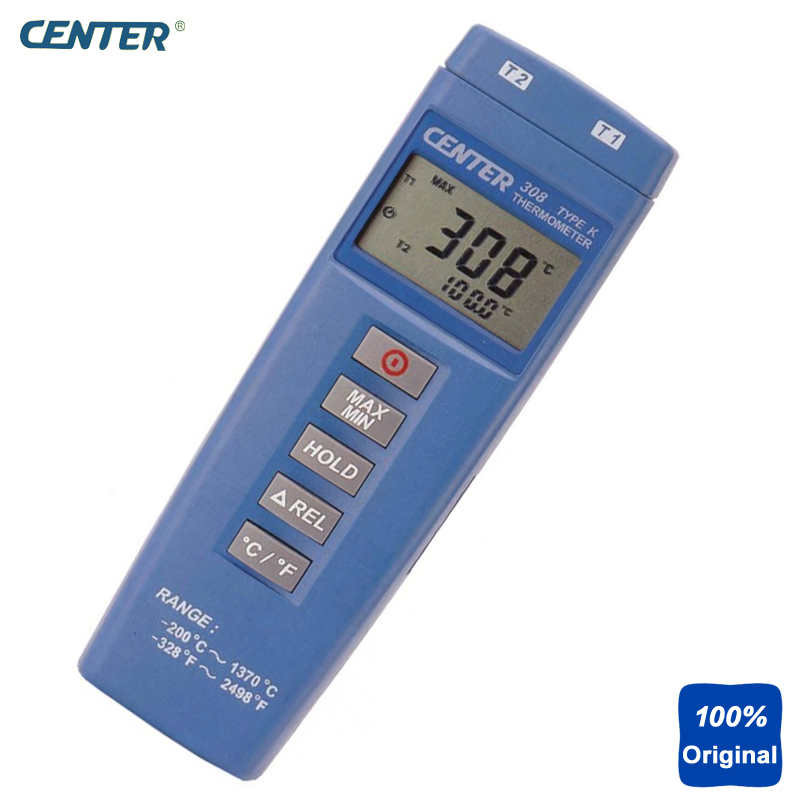 Compact Size Thermocouple Thermometer Low Cost Thermometer Dual Inputs Thermometer CENTER-308 compact