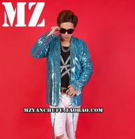 Hot Male Singer Suit Costumes Nightclub Dj Men's Bar Jackets Coats Men Sequins Coat Personality Stage Tide Clothes A329