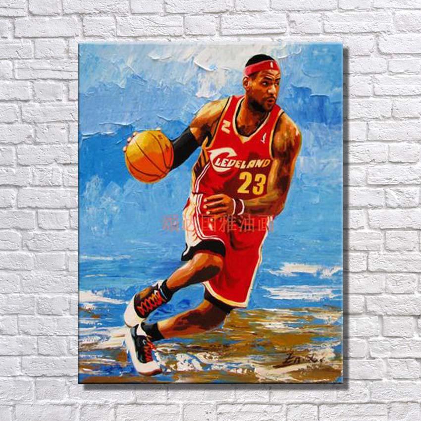 Artiste peint célèbre basket-ball étoile Pop Art peinture grande toile Art mur photos pour la décoration de la maison offre spéciale pas encadré