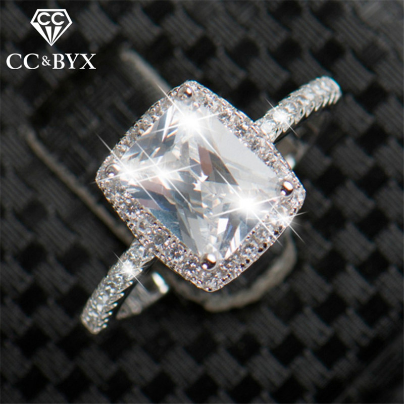 CC Luxury Jewelry Rings For Women S925 Silver Charms Square Big Stone Bridal Bijoux Wedding Engagement Ring Drop Shipping CC916a