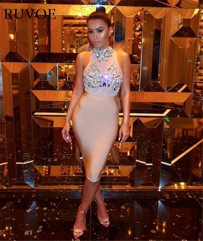 2017 Summer New Women Nude mesh Crystal sleeveless bandage dress High Neck beading diamonds Celebrity Sexy Party Dress Dropship v neck sleeveless beading decorative party dress