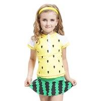 2018 الأطفال ملابس جميلة قطعتين للبنات البطيخ دوت نمط البسيطة تنورة الاطفال ملابس اطفال بنات الشاطئ ارتداء