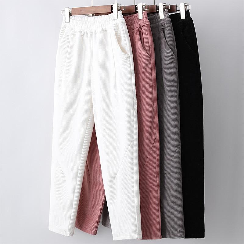 Elastic Waist White Corduroy Pants Women Pantalon Femme Plus Size Winter Pants Women Casual Harem Pants Corduroy Trousers C5580